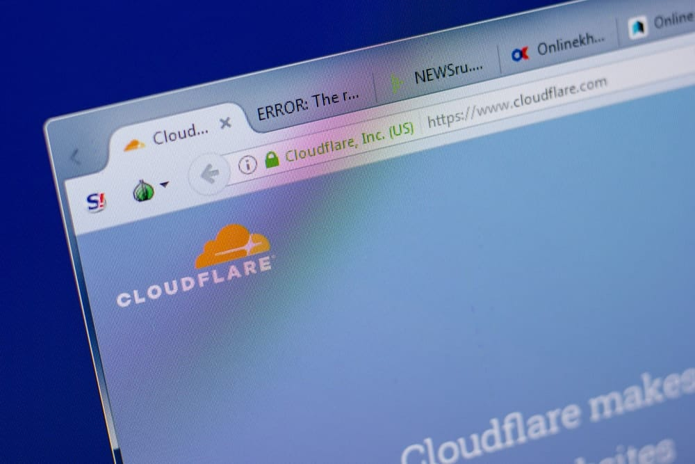 Homepage of CloudFlare website on the display of PC, url - CloudFlare.com-min