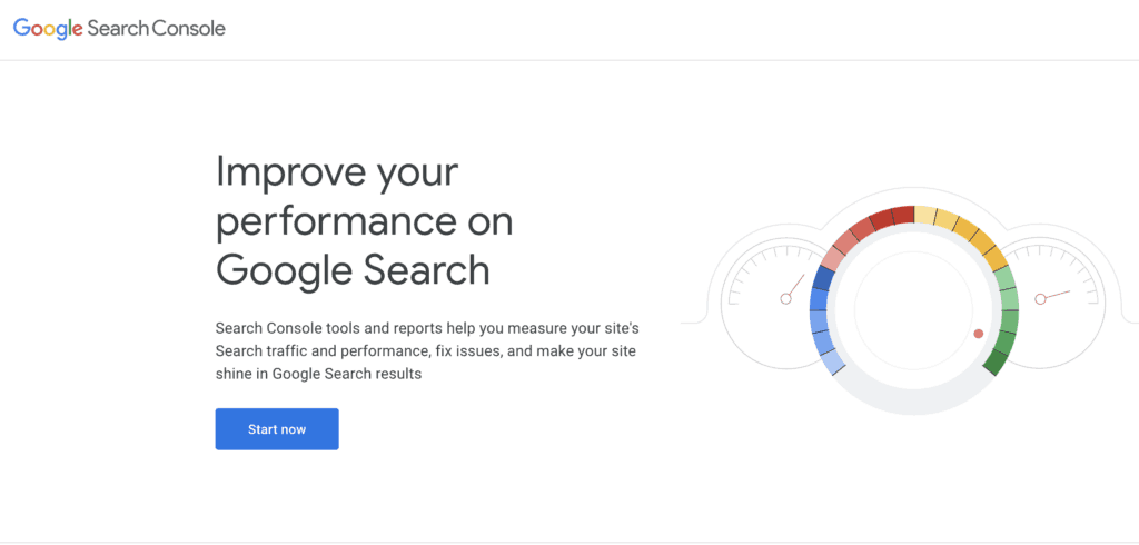 Screenshot of Google Search Console Homepage